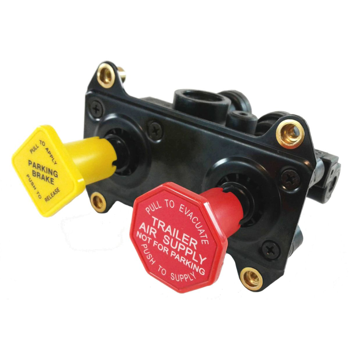 "MV-3 Hand Operated Push/Pull Tractor-Trailer Dash Control Brake Valve - 3/8"" Ports"